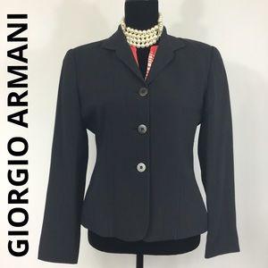 GIORGIO ARMANI Fitted 3 Button Navy Blazer